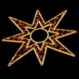 Illuminated Christmas Star Decoration on Black Stock Photography