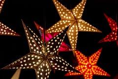 Illuminated Christmas Stars Stock Photography