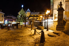 Illuminated Christmas Tree on Central Square of Megeve Stock Images