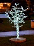 Illuminated christmas tree, decoration in the city. Illuminated christmas tree,decoration downtown og Bitola , Macedonia Royalty Free Stock Photos