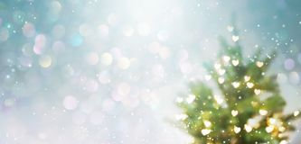 Illuminated Christmas tree. In a snowy day royalty free stock image