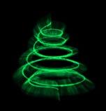 Illuminated Christmas tree isolated. Royalty Free Stock Image