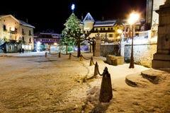 Illuminated Christmas Tree in Megeve Stock Photo