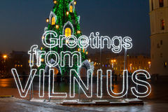 Illuminated Christmas tree in the Old Town of Vilnius, Lithuania, winter 2015-2016 Royalty Free Stock Images