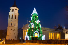 Illuminated Christmas tree in the Old Town of Vilnius, Lithuania, winter 2015-2016 Royalty Free Stock Photos