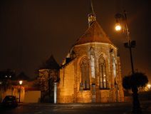 Illuminated church in Prague in Czech republic Royalty Free Stock Photo