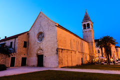 Illuminated Church of Saint Dominic in Trogir Stock Photo