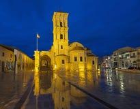 Illuminated Church of Saint Lazarus in Larnaca against blue sky Stock Image