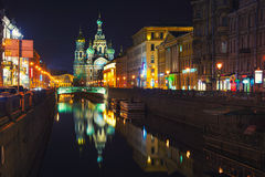 Illuminated Church on Spilled Blood in Saint Petersburg, Russia. Illuminated Church on Spilled Blood with dark sky in Saint Petersburg, Russia. Griboyedov canal Stock Photo