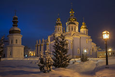 Illuminated churches of St. Michael`s Golden-Domed Monastery Stock Image