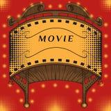 Illuminated cinema marquee. Stock Images