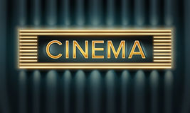 Illuminated cinema signboard Stock Photography