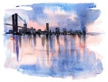 Illuminated city. (Uma painting Stock Photos