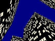 Illuminated city at night. Three dimensional illustration of lighted windows on modern skyscrapers in city at night; blue sky background Stock Photography