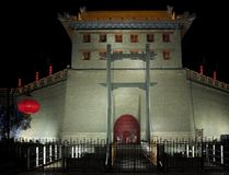 Illuminated city wall of Xian Stock Images
