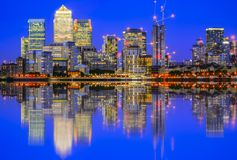 Illuminated cityscape in Canary Wharf, a major business district Stock Image