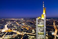Illuminated cityscape of Frankfurt Royalty Free Stock Image