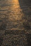 Illuminated cobbled street. Light illuminating cobbled street Royalty Free Stock Photo