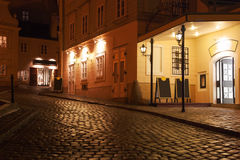 Illuminated cobbled street by late  evening , Vienna. Royalty Free Stock Image