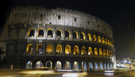 Illuminated Coliseum in Rome, Italy Stock Images