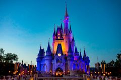 Illuminated and colorful Cinderella`s Castle  at Magic Kingdom in Walt Disney World area. Orlando, Florida. April 02, 2019. Illuminated and colorful Cinderella` royalty free stock images