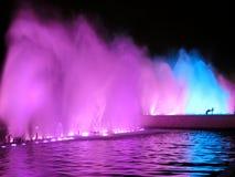 Illuminated colorful fountains Stock Photo