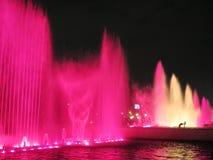 Illuminated colorful fountains Royalty Free Stock Photos