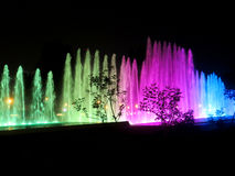 Illuminated colorful fountains Royalty Free Stock Photography