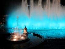 Illuminated colorful fountains Royalty Free Stock Photo