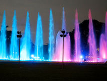 Illuminated colorful fountains Royalty Free Stock Images