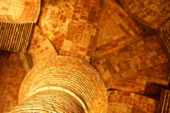 Illuminated column top radiating brick arches Stock Photography