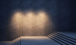 Illuminated concrete wall. And stairs at night Royalty Free Stock Photos