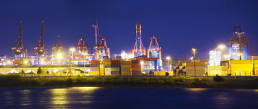 Illuminated Container Terminal Stock Photography