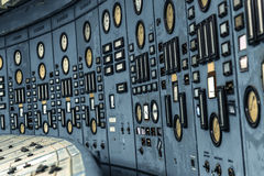 Illuminated control room of a power plant Royalty Free Stock Image