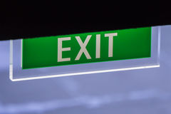 Illuminated Corporate Office Exit Sign Closeup. Stock Image