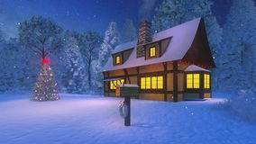 Illuminated cozy house and christmas tree at night