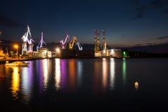 Illuminated cranes in Pula, Croatia Stock Image