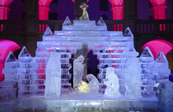 Illuminated crip made from blocks of ice. At night, Grazer statehouse, Styria, Austria, 2012 Royalty Free Stock Photo