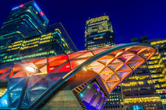Illuminated Crossrail Place in Canary Wharf. London, UK - August 30, 2016 - Illuminated Crossrail Place in Canary Wharf, financial district of London Royalty Free Stock Images