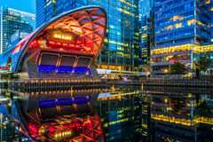 Illuminated Crossrail Place in Canary Wharf. London, UK - August 30, 2016 - Illuminated Crossrail Place in Canary Wharf, financial district of London Stock Images