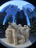"The Illuminated Crowd in front of reflective glass buildings. Montreal, Quebec : Fisheye Photo of ""The Illuminated Crowd"" by Raymond Masson "" d has gathered Stock Images"