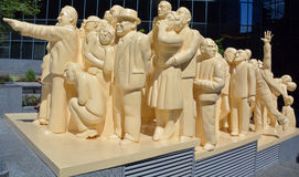 The Illuminated Crowd. MONTREAL CANADA AUGUST 17: The Illuminated Crowd is a public sculpture, made in 1985 by artist Raymond Mason from stratified polyester stock photo
