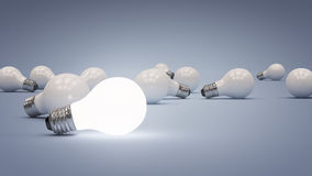 Illuminated. 3 D render of field of light bulbs Stock Images