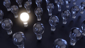Illuminated. 3 D render of field of light bulbs Royalty Free Stock Photography