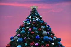 Illuminated Decorated Christmas tree on sunset background in International Drive area. Orlando, Florida. November 17, 2018. Illuminated Decorated Christmas tree royalty free stock photos