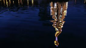 Illuminated decorated New Year tree reflected in the water. Close-up illuminated decorated New Year tree reflected in the water. Huelin Park, Malaga city stock video footage