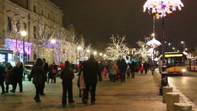 Illuminated and decorated street at Christmas time, Warsaw stock video footage