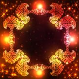 Illuminated decorative frame on dark orange and red gradient background with glittering stars and lights Stock Image