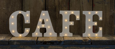 Illuminated Decorative Letters Spelling CAFE Royalty Free Stock Photo