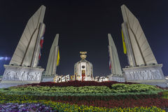 Illuminated Democracy Monument in Bangkok Stock Image